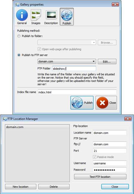Publish to FTP : Auto Slideshow Flash Cs4